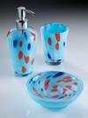 Accessori bagno in vetro, set appoggio Corallo sapone, dosatore, bicchiere.